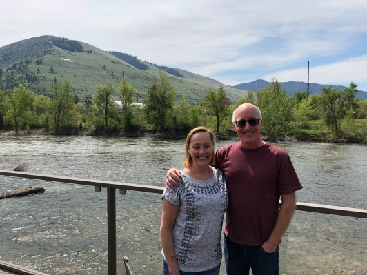 In Missoula on the Clark RIver, slightly swollen with winter snowmelt.